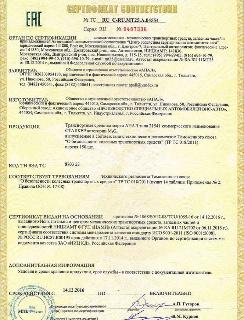 Апал Сталкер сертификат соответствия